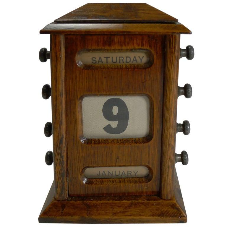 Small Antique English Oak Perpetual Desk Calendar Circa 1900 For