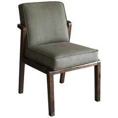 Atena Dining Chair in Walnut Upholstered with Nova Suede