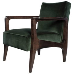Atena Armchair in Black American Walnut Stained in Black Ebony and Luxe Velvet