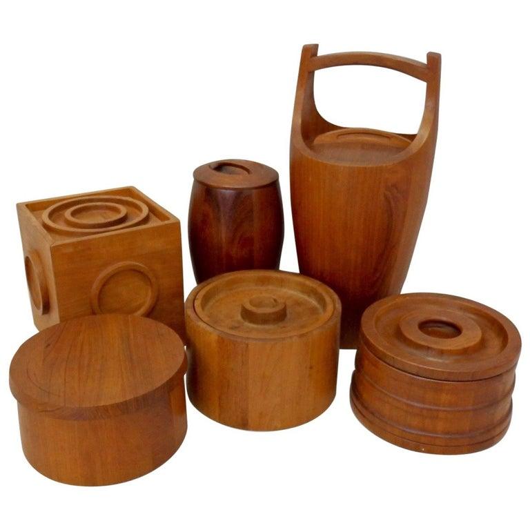 Collection of Danish Dansk Teak Quistgaard Ice Buckets For Sale
