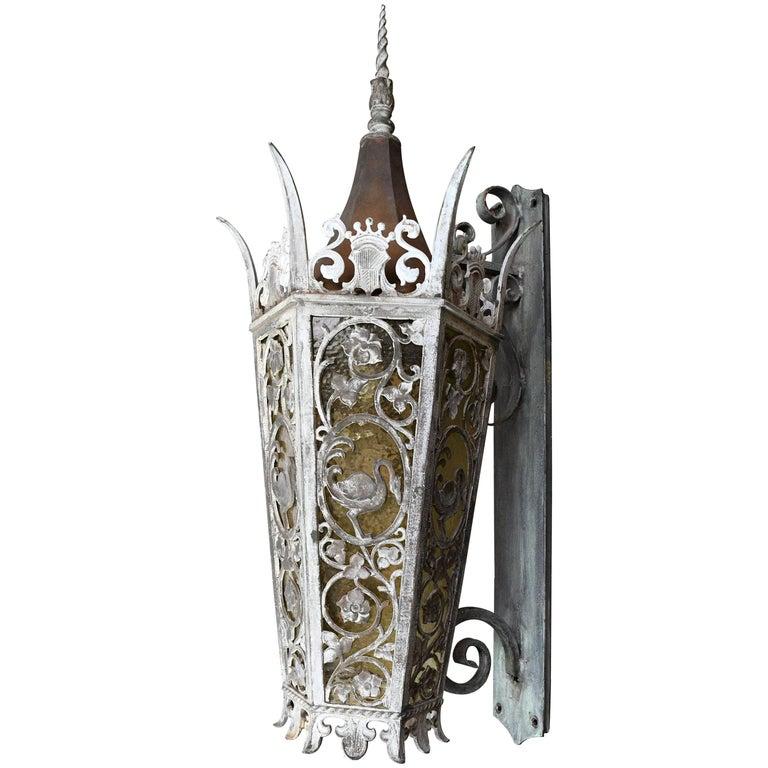 Cast Bronze Tudor Exterior Sconce with Glass For Sale