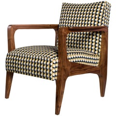 Art Deco Inspired Atena Armchair in Black America Walnut and Rio Fabric