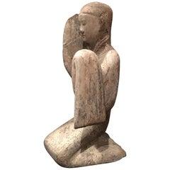 Han Dynasty Gray Pottery Figure of a Female Kneeling Long Sleeve Dancer