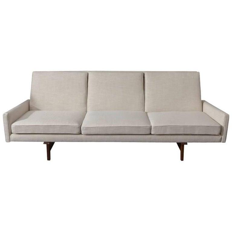 Jens Risom Vintage Sofa with Sculpted Walnut Frame For Sale