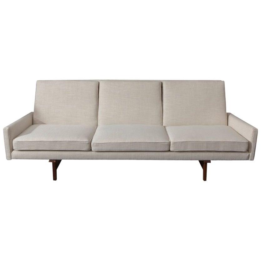 Jens Risom Vintage Sofa with Sculpted Walnut Frame
