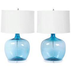 Pair of Handblown Glass Aqua Lamps