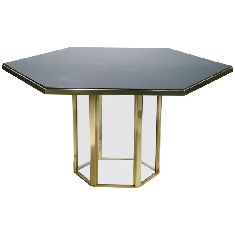 Romeo Rega Brass and Lacquer Dining Table, 1970s