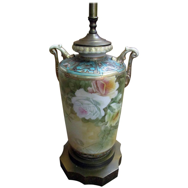 19th Century Nippon Moriage Urn Lamp with Roses