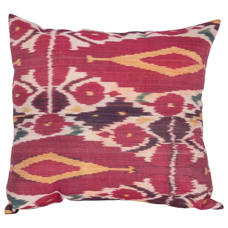 Antique Ikat Pillow Case Fashioned from a 19th Century Uzbek Ikat