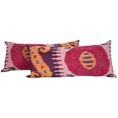 Antique Ikat Pillow Cases Fashioned from an Early 20th Century Uzbek Ikat