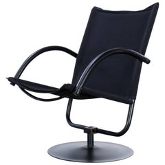 Design Swivel Chair Black Canvas Fabric Attributed to Mazairac & Boonzaaier