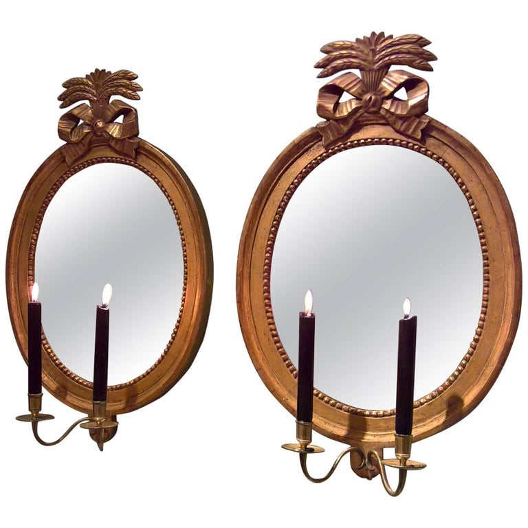 Late 18th Century Gustavian Pair of Giltwood Mirrors