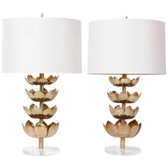 Pair of Brass Lotus Table Lamps