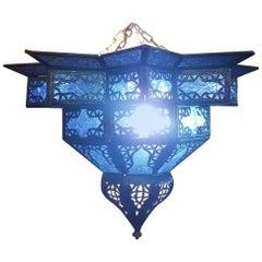 Moroccan Handmade Ceiling Light, Star Lantern in Blue Glass