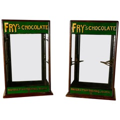 Pair of Edwardian Fry's Counter Top Shop Display Cabinets, Sweet Shop
