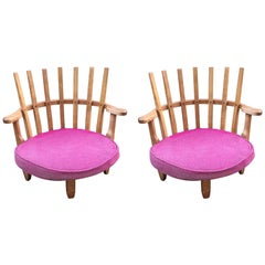 Pair of Easy Chairs in Oak by Guillerme & Chambron Edition Votre Maison