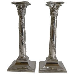 Pair of Antique Scottish Silver Plated Candlesticks, Sorley Glasgow, circa 1890