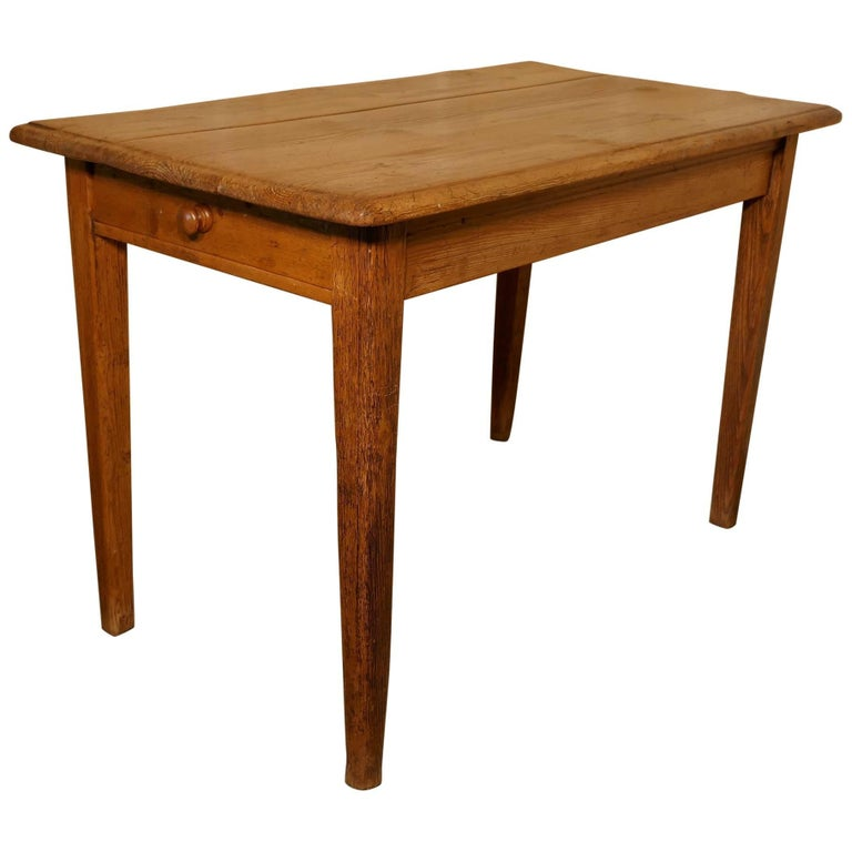Victorian Planked Top Farmhouse Kitchen Pine Table