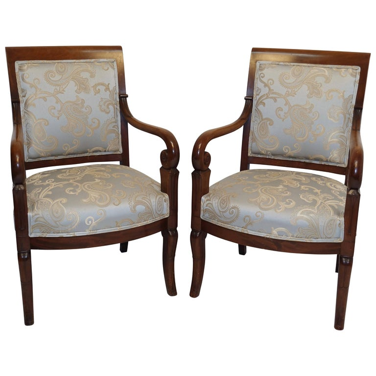 Pair of Charles X Walnut Fauteuils, French, circa 1830