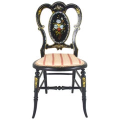 Antique Chair, Black Lacquered Chair, Victorian, England, 1870   REDUCED!!