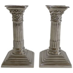 Pair of Antique English Corinthian Column Candlesticks, circa 1900, Silver Plate