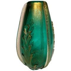 Ercole Barovier, Green Artistic Blown Glass of Murano Vase, circa 1950