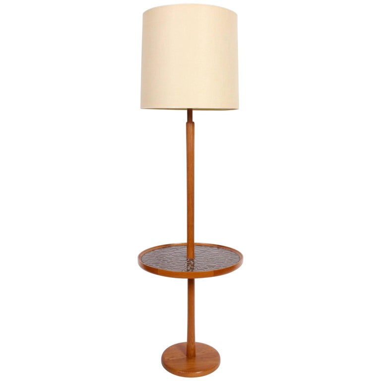 Jane and Gordon Martz Teak and Dark Chocolate Tile Side Table Floor Lamp, 1960s