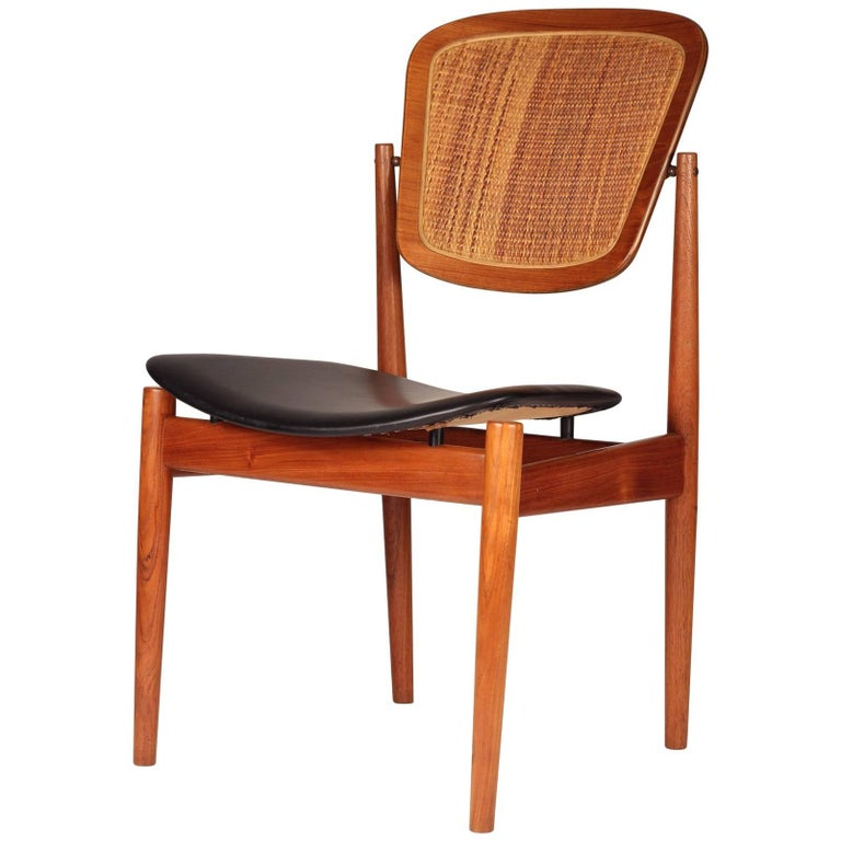 Danish Desk Chair by Arne Vodder in Teak, Cane and Black Leather