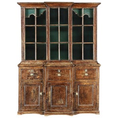 Rare Small Georgian Glazed Breakfront Cabinet