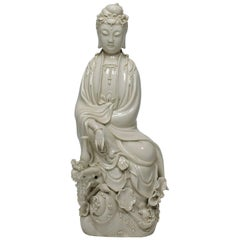 "Chinese Blanc de Chine Porcelain Figure of Guanyin 'Guan Yin' ""Goddess of Mercy"""