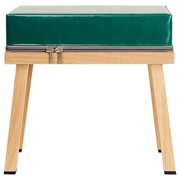 Double Macaroon Stool In Brown And Green Glaze For Sale At
