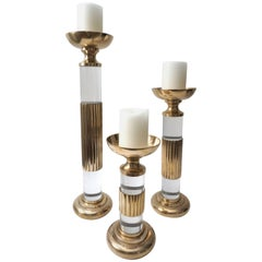 Set of Three Candlesticks in Brass and Lucite