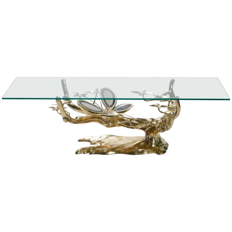 Willy Daro Brass and Agate Coffee Table, 1970s