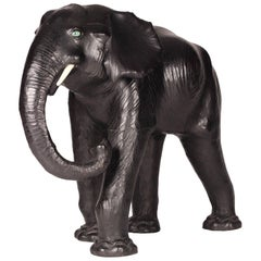 Mid-Century Modern Leather Crafted Elephant for Shop Display