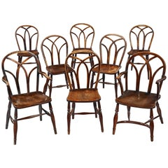 "Harlequin Set of Eight Gothic ""Lace Back"" Windsor Dining Chairs"
