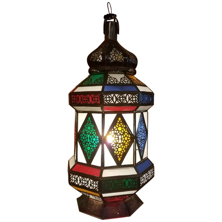 Flat Bottom Moroccan Multi-Color Glass Lantern