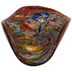 AVeM Bowl, Artistic Blown Murano Glass, Multicolored and Red, circa 1950