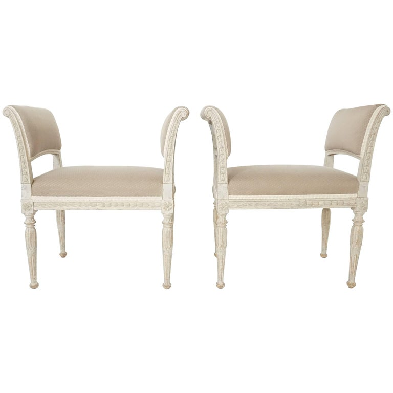 Pair of Swedish Gustavian Period Neoclassical Style Benches, circa 1790
