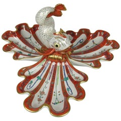 Herend Porcelain 'Red Dynasty Godollo' Dolphin and Shell Tripart Centerpiece