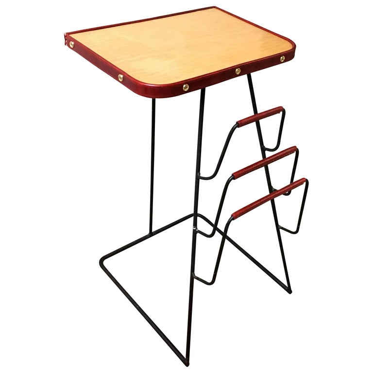 Jacques Adnet Red Leather and Brass Side Table with Magazine Rack For Sale