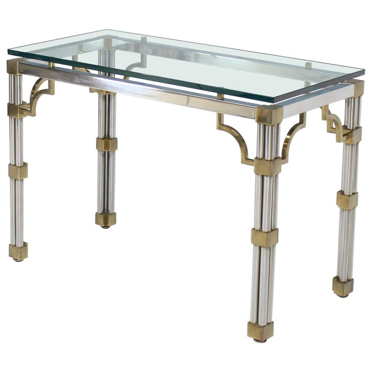 Chrome Glass And Brass Heavy Console Sofa Table For Sale At 1stdibs