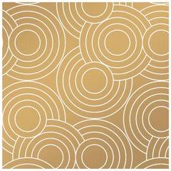 Crop Circles Designer Wallpaper in Color Sphinx 'White on Metallic Gold'
