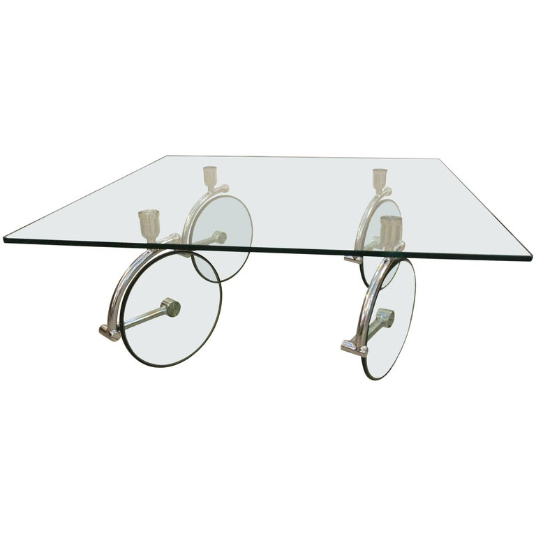 Square Cocktail Table in Glass and Chrome