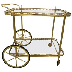 Bar Cart in Polished Brass and Glass