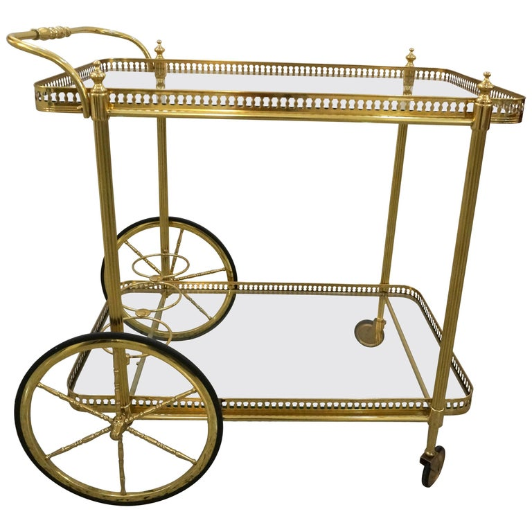 Maison Jansen Style Bar Cart in Polished Brass and Glass