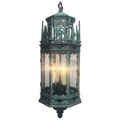 19th Century English Gothic Revival Bronze Lantern Chandelier