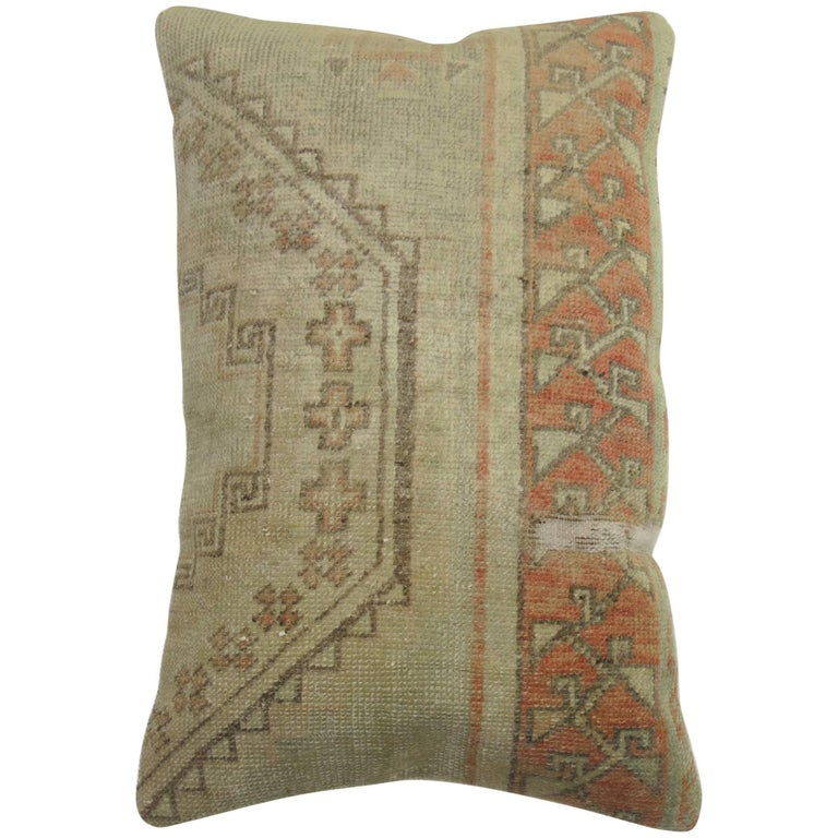 Vintage Lumbar Turkish Oushak Rug Pillow