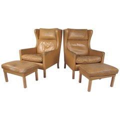 Pair of Børge Mogensen Wing Back Leather Chairs with Ottomans