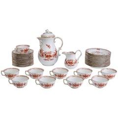 19th Century Meissen Porcelain Red Indian Painting Dessert 34 Piece Set