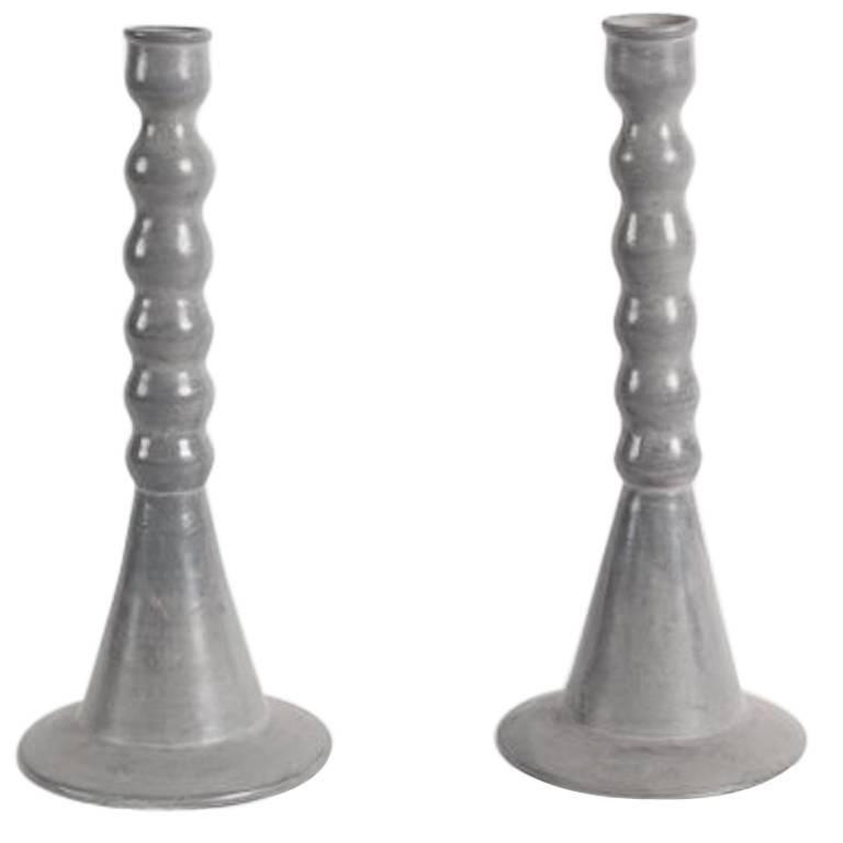 Dbila, Pair of Large Gray Candlesticks, Morocco